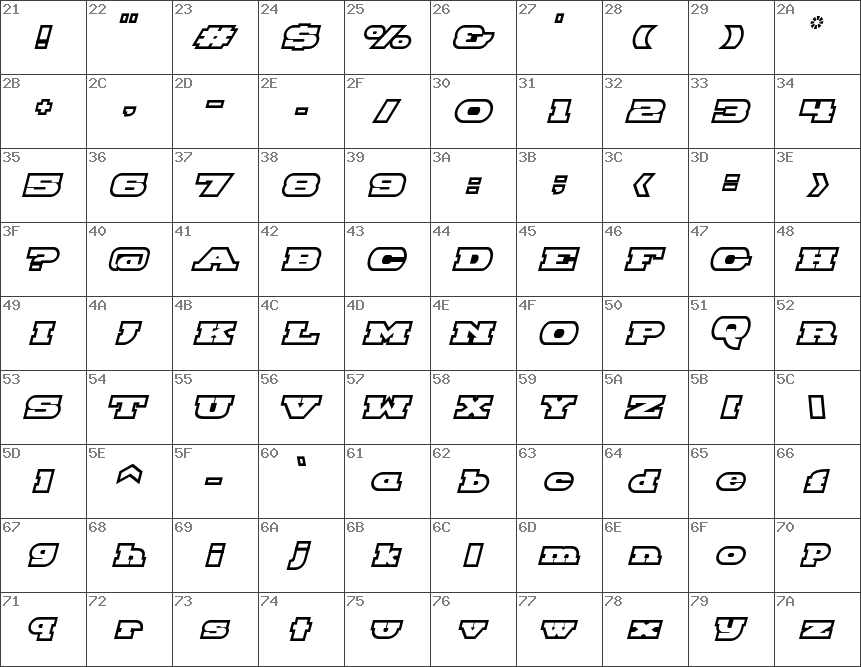 Download free Hackney Block Outline Italic font | dafontfree net