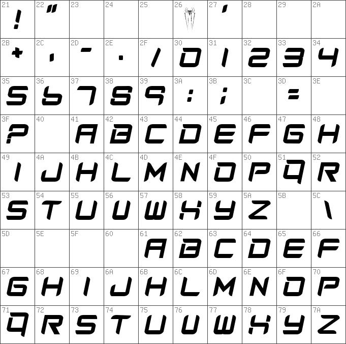 Download free Amazing Spider Man slant Regular font