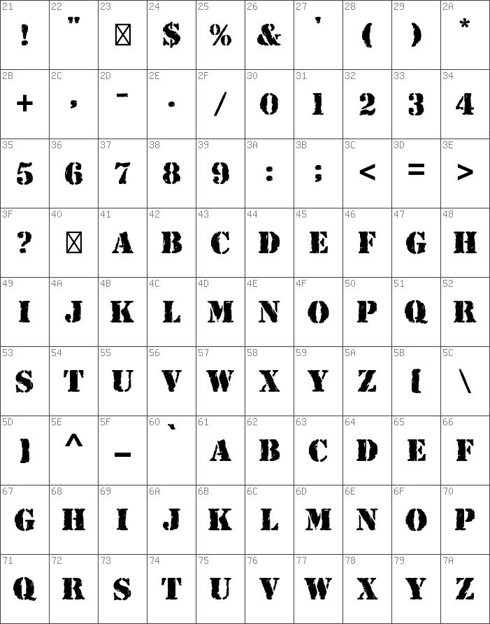 Char Map Ascii Rubber Stamp Std Regular Font