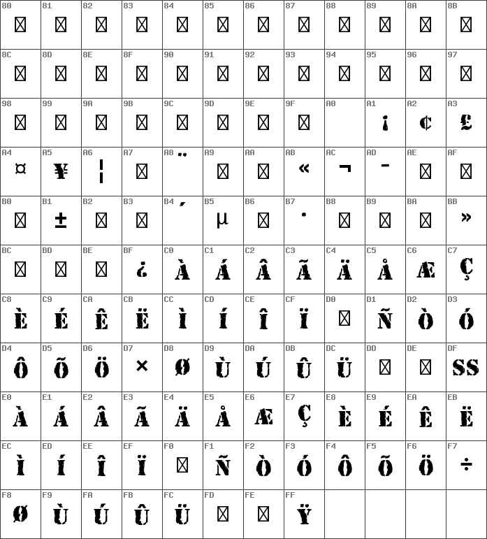 Char Map Unicode Rubber Stamp Std Regular Font