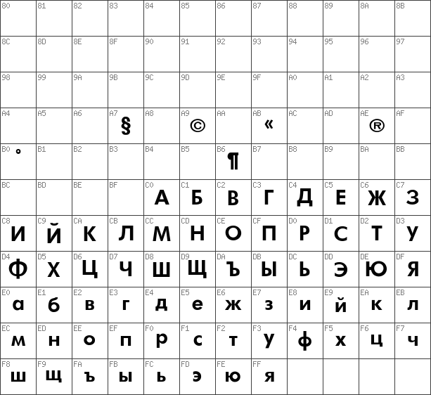 Char Unicode Futura_Book-Bold Regular