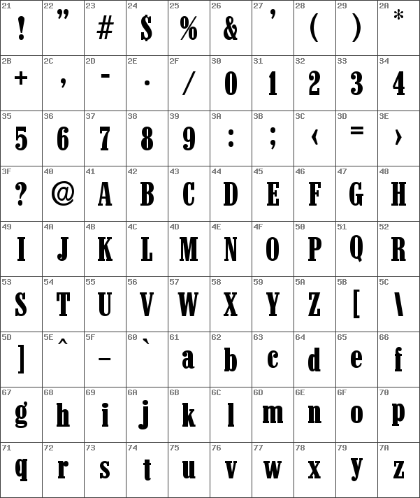 Download free colonel serial bold font dafontfree char map ascii colonel serial bold font thecheapjerseys Image collections
