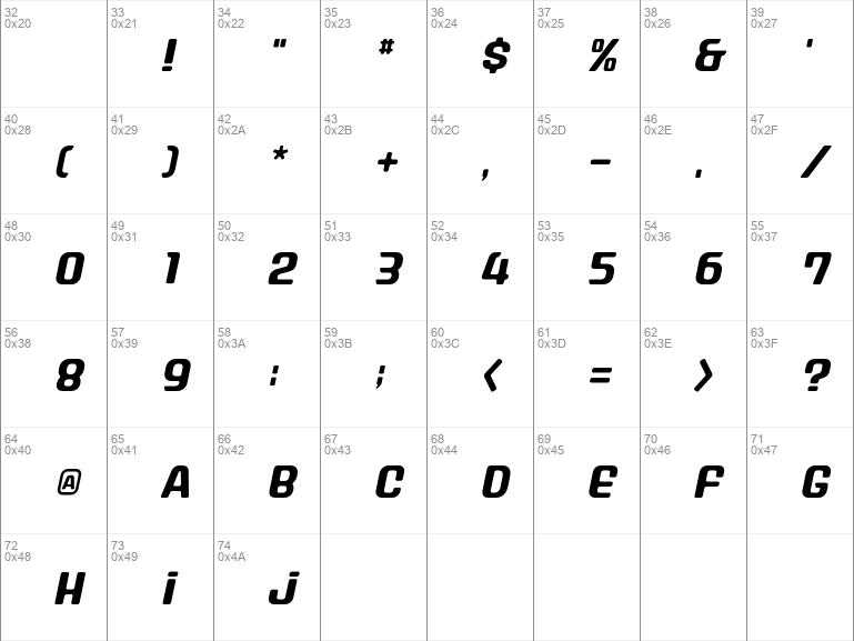 Stanley AlphabetOblique