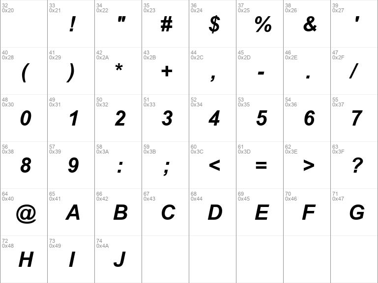 SUNA Arial Bold Italic